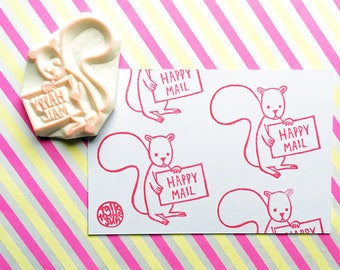 happy mail stamp | squirrel rubber stamp | woodland animal | diy snail mail | mailing shipping packaging | hand carved by talktothesun