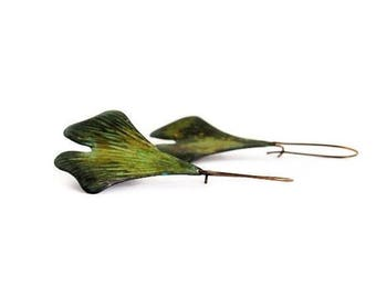 Ginkgo Leaf Earrings / Verdigris Patina / Leaf Jewelry / Green Ginkgo Leaf