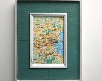 Vintage Boston Map, Blue-Green Wood Frame, Graduation Gift, Farmhouse Style, 8x10 Wood Frame, Vintage Map Gift, Harvard, UMass, Northeastern