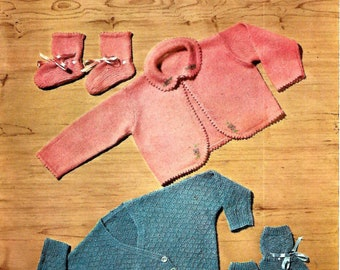 LAVENDA 470 Baby Matinee Coats with Bootees Vintage Knitting Pattern PDF Instant Download