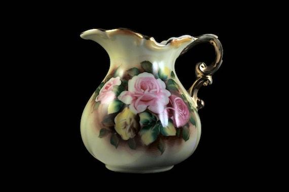 Pitcher, Jug, Water Pitcher, Water Jug, Roses, Floral, Brushed Gold, Vase