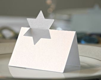 Star of David place cards | White metallic name cards for Passover, Hanukkah, Bar Mitzva, Wedding or any Jewish occasion