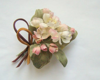 Miniature Brooch Apple Blossom and flowers for dolls