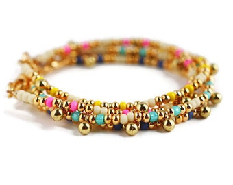 Dainty Gold Charm Bracelet, Friendship Bracelet, Delicate Bracelet, Layering Bracelet, Friendship Bracelet, Beaded Bracelet, Orb Jewelry