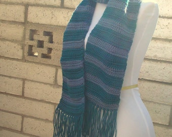 Teal Striped Scarf  - Country Blue and Teal - Stripe - Hoooked Handmade Scarves - Long - Men or Women - Ready To Ship - Trendy - Plus Size
