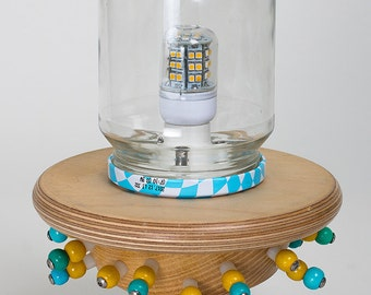 Blue & Yellow Spacelamp... Reclaimed hardwood, upcycled glass jar and LED bulb.