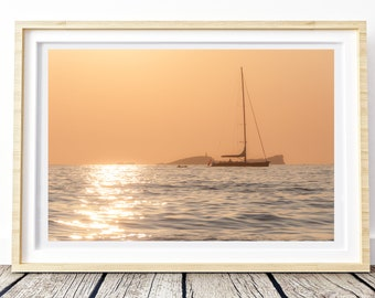 Sunset from Ibiza photo. Landscapes of Spain. Sun and light. Printable image for download. From Spain with Love