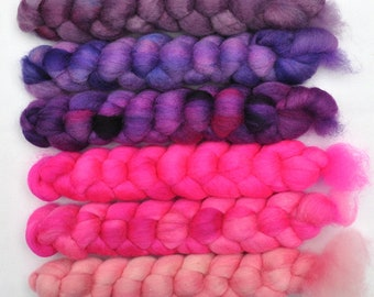Hand dyed roving -  Blue Faced Leicester (BFL) wool spinning fiber - 6.2 ounces - Angry Pixie