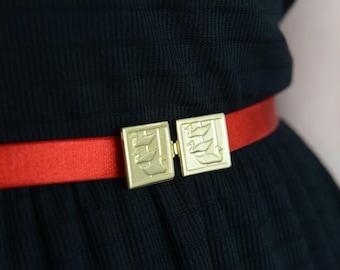 Red belt - Gold Belt - Bridesmaids Belt - Dress belt - Stretch Belt - Skinny Belt -Bridesmaids accessories - Swimming Ducks - dainty belt
