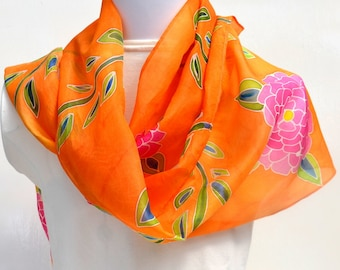 Hand Painted Silk Scarf, Floral Scarf, Tropical Fun Scarf, 64 x 10 inches, Made in Australia SallyAnnesSilks  HP32