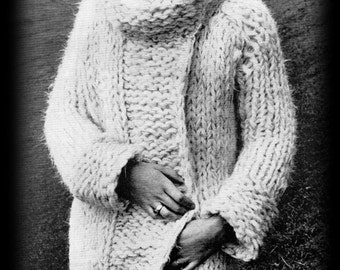 "Vintage 60's Knitted ""Moody"" Coat - PDF Pattern - INSTANT DOWNLOAD"
