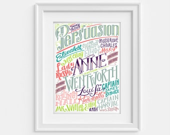 Jane Austen Persuasion print, characters and places in hand lettering