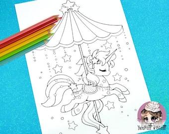 Celestial Carousel - Shooting Star Pegasus  - Clip Art - Digital Stamp