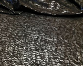 Black Foil Mini Animal Spots Pattern on Stretch Nylon Spandex Fabric - 58 Inches Wide - By the Yard or Bulk