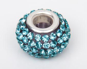 Bead style European o15 with ultramarine blue crystals