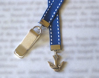 Blue Bird bookmark / Swallow Bookmark / Dove Bookmark /  - Clip to book cover then mark the page with the ribbon. Never lose your bookmark!