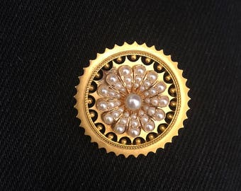 1900's 1910 Antique Edwardian Solid 18K Yellow Gold Seed Pearl Brooch / Pin / Locket