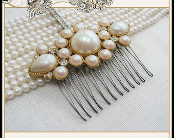 Wedding Pearl and Rhinestone Hair Comb From Vintage Brooch Bridal Prom Christmas