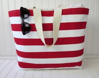 Large Beach Bag - Travel Gift -  Red Striped Beach Bag - Red Striped Beach Tote - Striped Beach Tote Bag