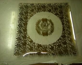 50th anniversary platter-tray-celebration-milestone-glass -leaves and vines design-shelf decor-