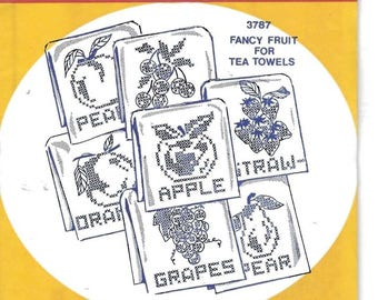New Aunt Martha's Hot Iron Transfers Fancy Fruit for Tea Towels 3787