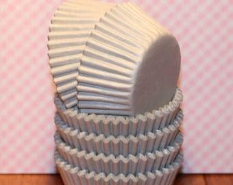 NEW - MINI Silver Sheen Heavy Duty Cupcake Liners  (Qty 50) Mini Silver Cupcake Liners, Mini Silver Baking Cups, Mini Cupcake Liners