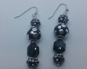 0221-Black and Silver Earrings