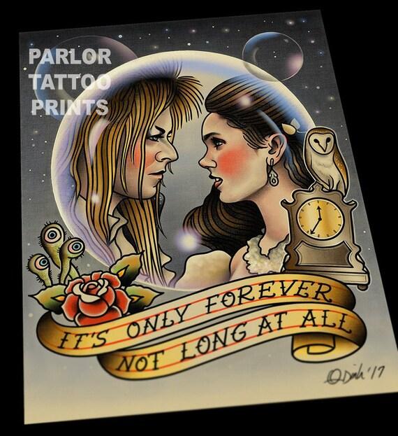Simple Labyrinth Movie Tattoo: Jareth And Sarah The Labyrinth David Bowie Tattoo Flash Art