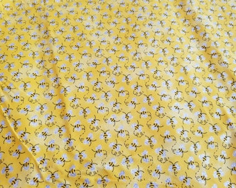 Bumble Bee Glitter Fabric | Yellow Black White | Kids Clothing Fabric | Cotton Fabric