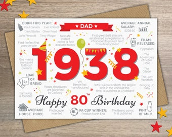 Happy 80th Birthday DAD Greetings Card - Born In 1938 British Facts Year of Birth / Memories - A5 Red