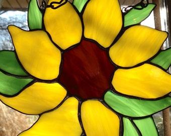 Stained Glass Sunflower Sun Catcher Wild Flower Handmade