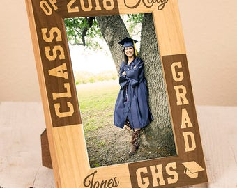 Personalized Graduation Frame-Graduation Gift-Class of 2017-Wood Engraved-Graduation-Color Choice