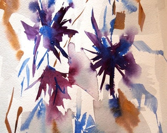 Geometric Flowers II, An Original Abstract Floral Watercolor, A Gift for Spring, Ready To Frame, Matted Watercolor, 12 x 16 inches, Modern