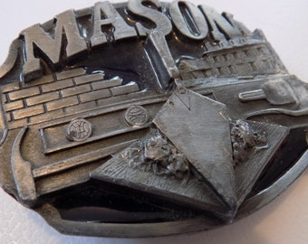 Vintage belt buckle,heavy pewter Masonic belt buckle,made by SISKiyou Co. , Mason collectible