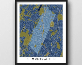 New jersey wall art etsy montclair nj map print wall art hometown birthday anniversary gift moving housewarming new home negle Images