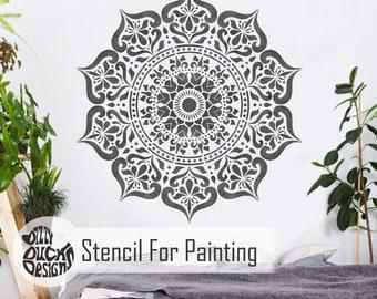 MANALI MANDALA STENCIL – Indian Boho Reusable Wall Stencil by Dizzy Duck Designs