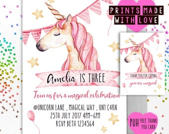 Unicorn birthday invitation , pink , party invite , print your own , magical party , sleep over , slumber party , invite