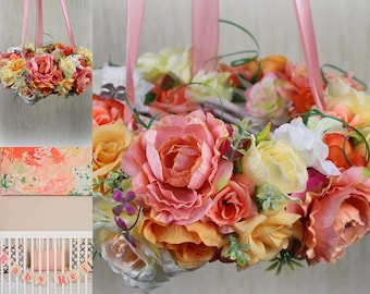 Nursery Flower Mobile  Baby floral Mobile Coral Pink Peach Wedding Flower  Chandelier Girl Baby Shower Gift Crib Mobile