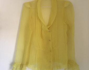 Yellow sheer ruffle blouse