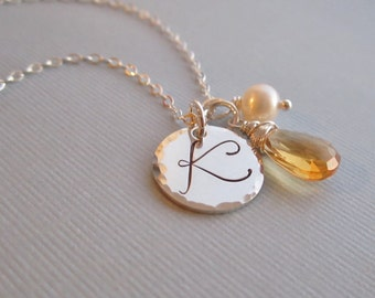 November birthstone necklace, personalized citrine necklace, custom initial, sterling silver monogram, silver necklace, freshwater pearl