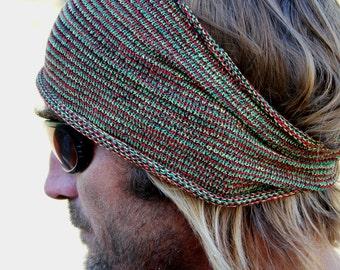 WIDE Rasta Mens Headband, Rasta Dreadband, Rasta, Sweatband, Rastafarian, Hippie Headband, Knitted Headband, Winter Headband, Burning Man