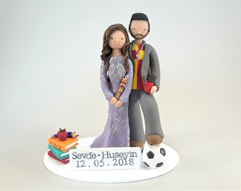 Unique Cake Toppers - Teacher & Soccer Player Personalized Wedding Cake Topper