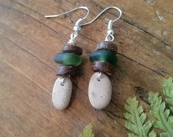 Beach stone earrings, sea glass earrings