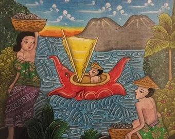 Traditional Bali Scene - Ocean - Hand painted Acrylic on Canvas - 20cm x 25cm