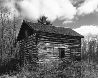 The Old Log Cabin - Digital Download - Black and White Photo - Wall Decor - Vintage - Log Cabins
