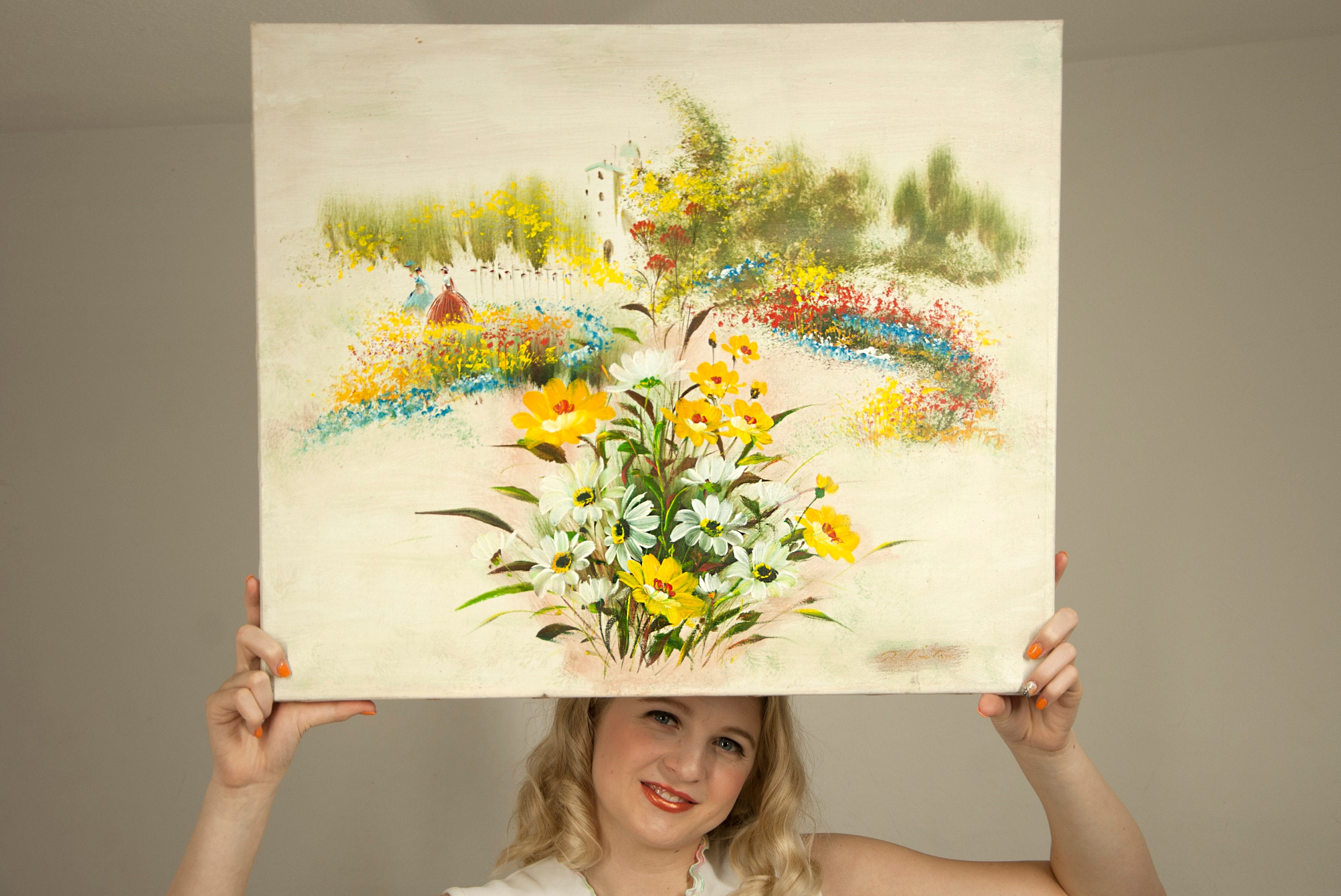 Vintage original painting, yellow flowers, wall hanging, daisies ...