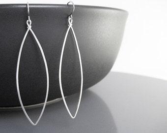 Marquise Earrings - long silver geometric jewelry, modern minimal delicate hoop, lightweight minimalist jewelry