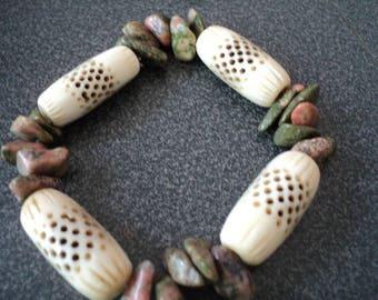 Bracelet Unikite and Bone Beads (1469)