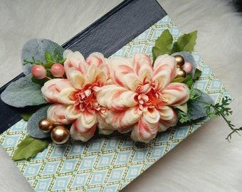 Peachy blossom pinup retro hair flower