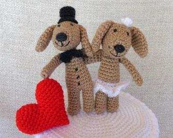 Chiens et Coeur, wedding cake topper, figurine de mariage pour votre gâteau